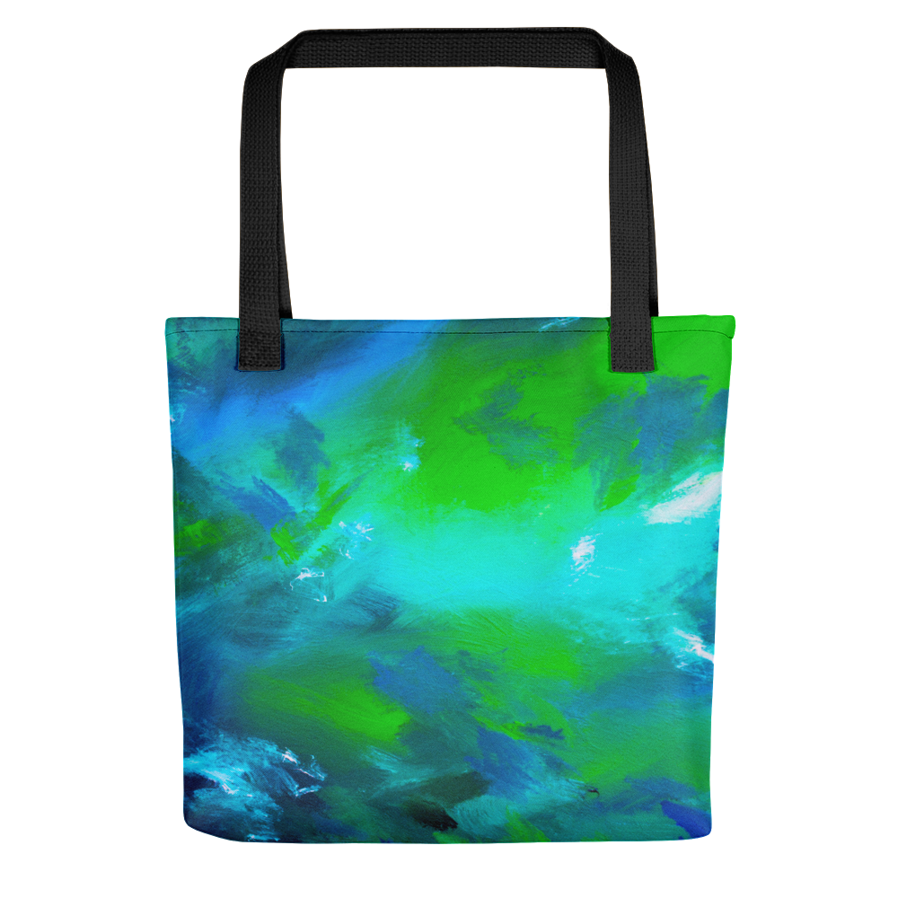 Blue green abstract print on tote bag