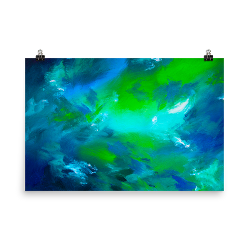 Blue green abstract art print 24 x 36 inches