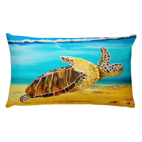Large Brown Turtle II • Rectangle Pillow