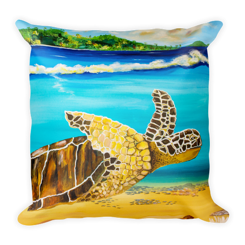 Large Brown Turtle II • Square Pillow
