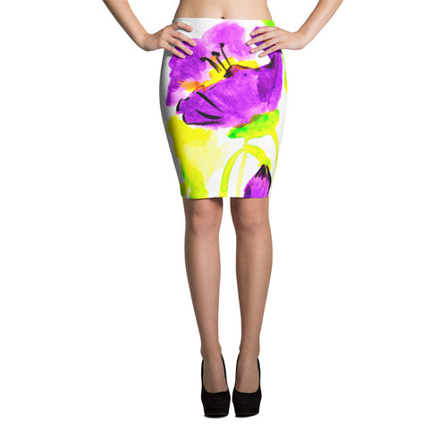 Purple Poppies Pencil Skirt
