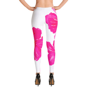 Pink Hibiscus Leggings