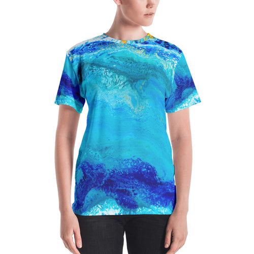 Blue Gold Ocean Abstract Women's T-shirt