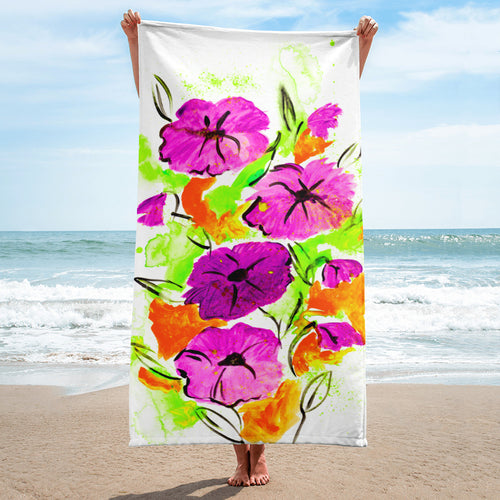 Purple Flowers On Orange Towel