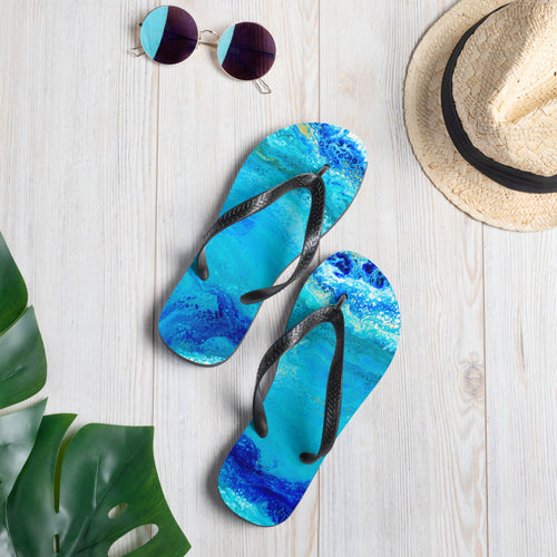 Blue and Gold Ocean Abstract • Flip-Flops