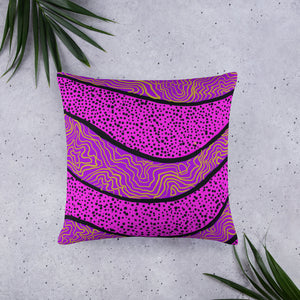 Large Purple abstract pattern on square pillow front
