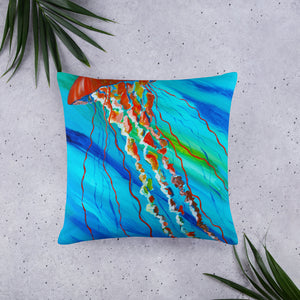 Orange Jellyfish • Basic Pillow front 22 x 22in