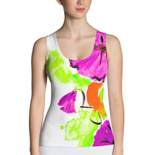 Purple Flowers On Orange Women's Tank Top