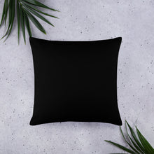 Large Purple abstract pattern on square pillow  black back