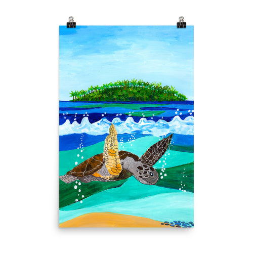Turtle in Waves • Art Print