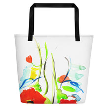 Poppies On Blue Beach Bag