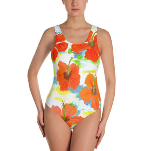 Hibiscus On Blue One-Piece Swimsuit