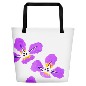 Purple Iris Beach Bag