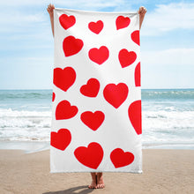 Red Hearts Towel