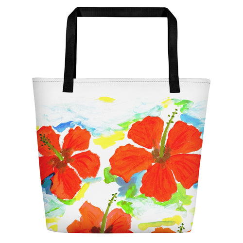 Hibiscus On Blue Beach Bag