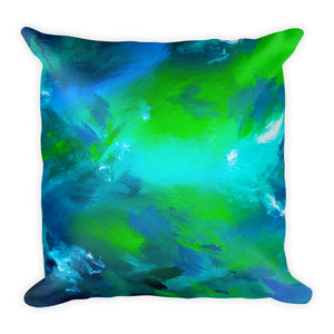 Blue green abstract square pillow