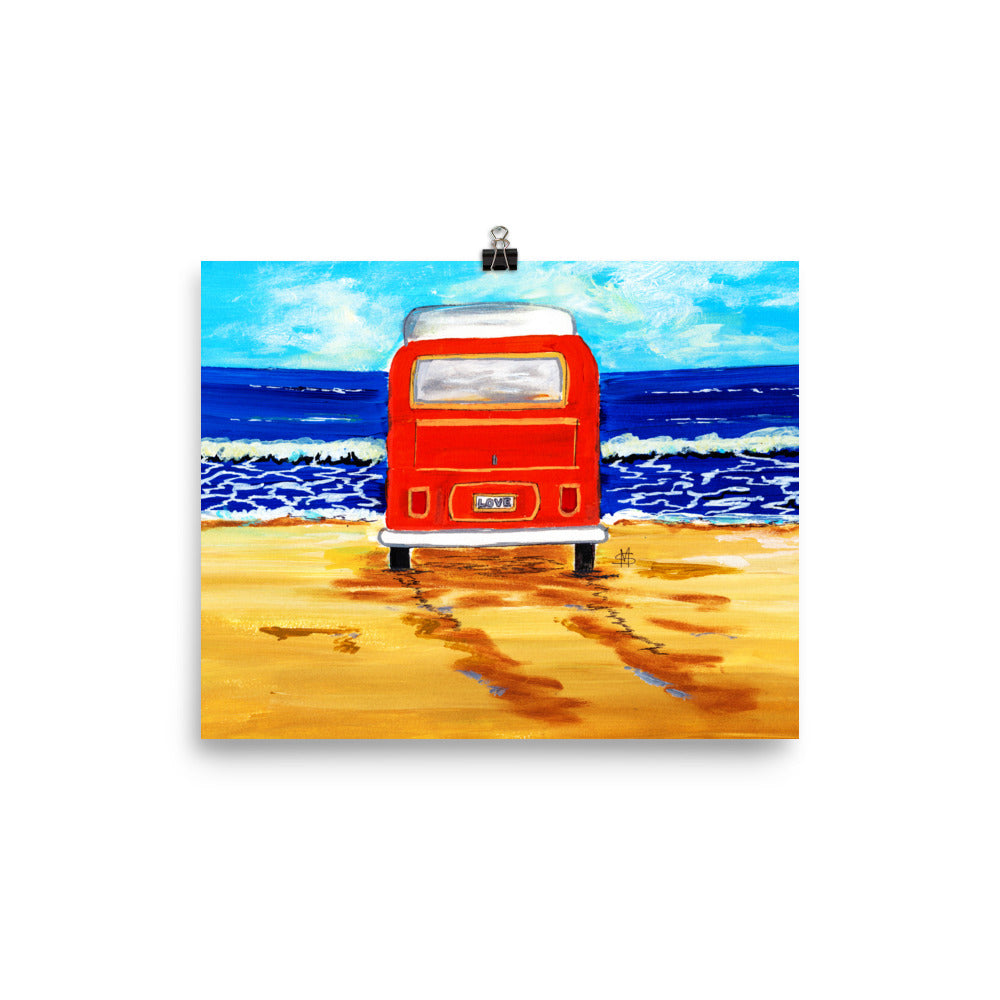 Orange Bus Art Print