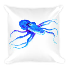 Blue Octopus Square Pillow