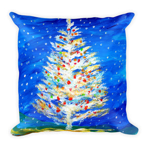 Christmas Tree In Snow • Square Pillow