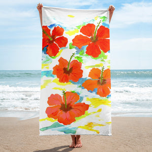 Hibiscus On Blue Towel