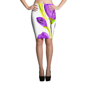 Purple Tulip Pencil Skirt