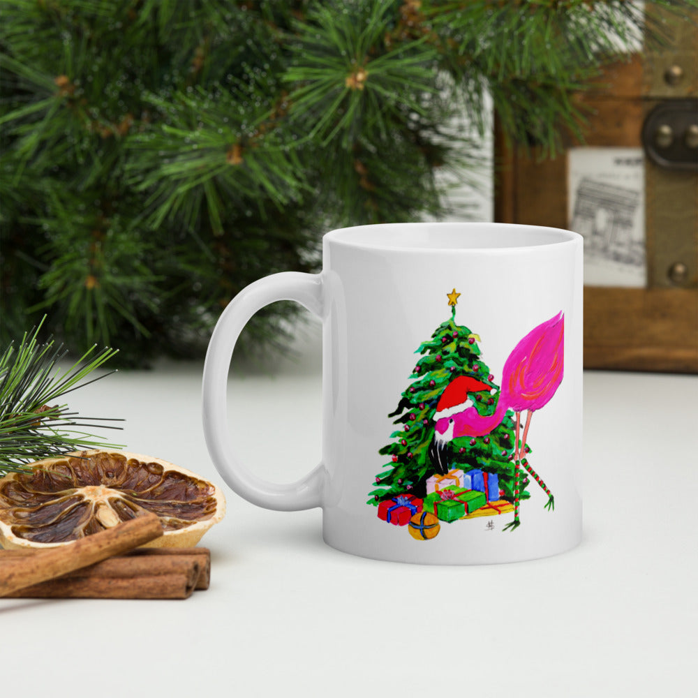 Flamingo Christmas Tree mug