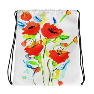 Poppies On Blue Drawstring Bag