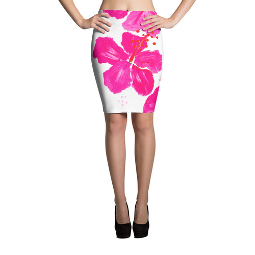 Pink Hibiscus Pencil Skirt