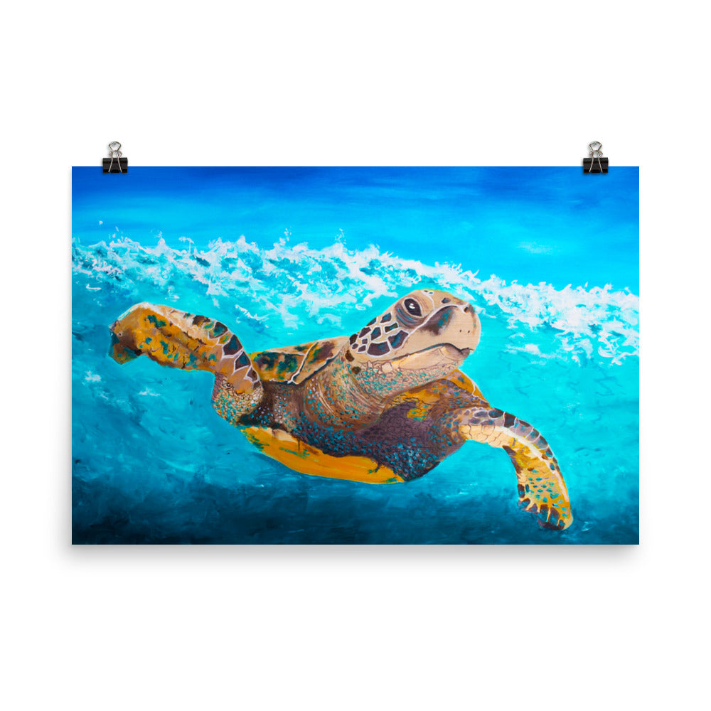 Turtle Underwater Art Print