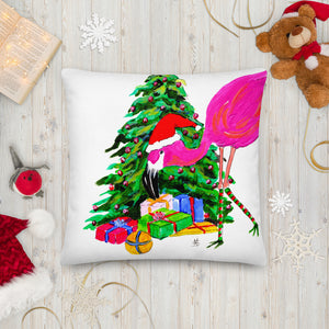 Flamingo Christmas Tree square pillow front