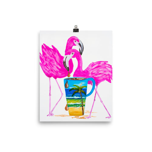 Flamingo Coffee Time Art Print
