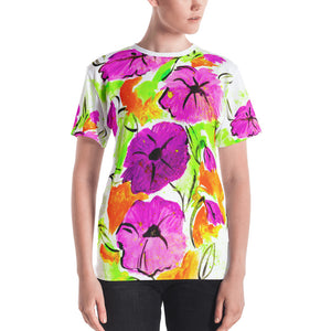 Purple Flowers On Orange Women's T-shirt
