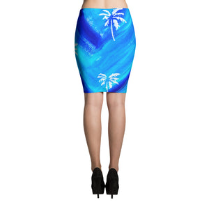 Palm Tree Pattern Pencil Skirt