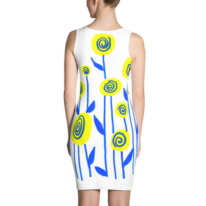 Yellow and Blue Flowers Dress