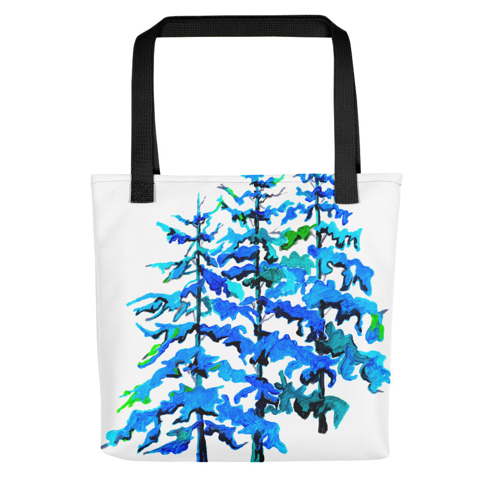 Blue Pine Trees • Tote Bag