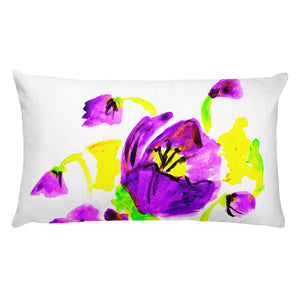 Purple Poppies Rectangular Pillow