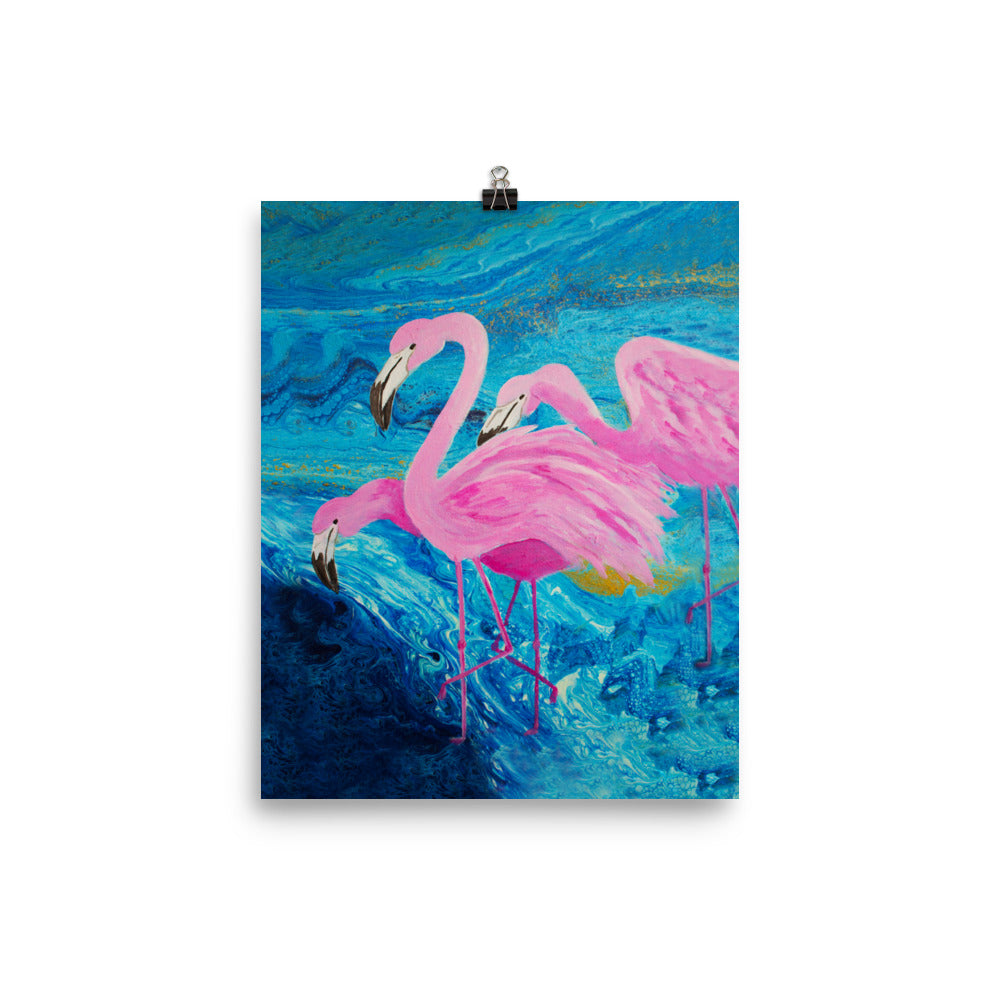 Flamingos On Blue Art Print