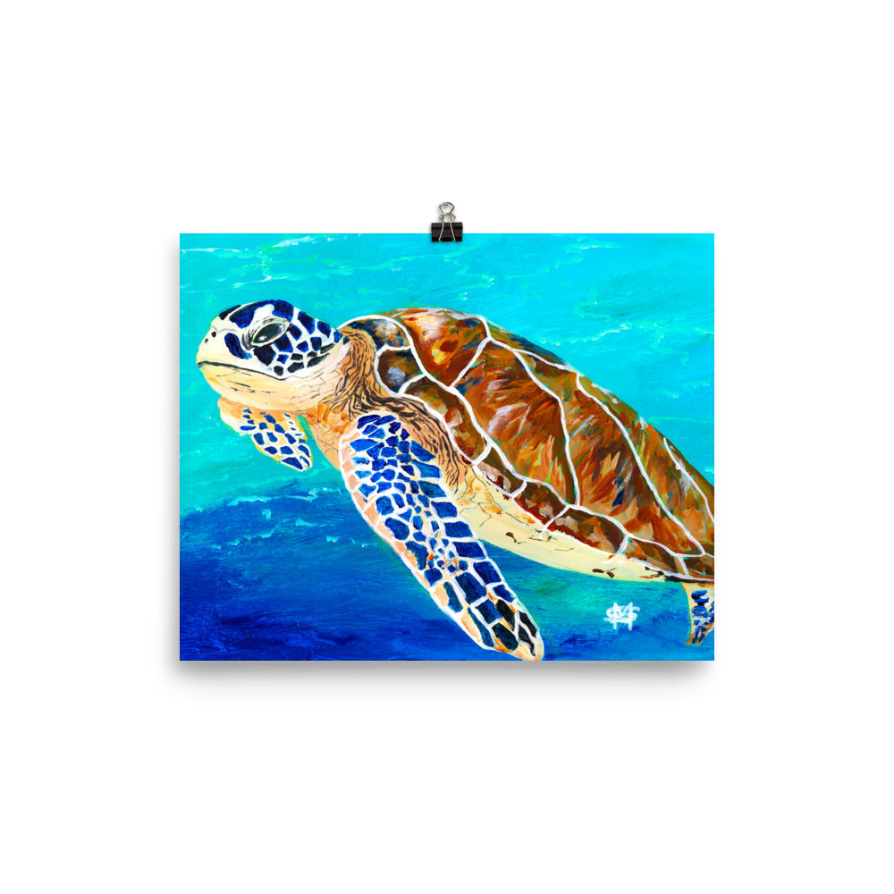 Brown Sea Turtle Art Print