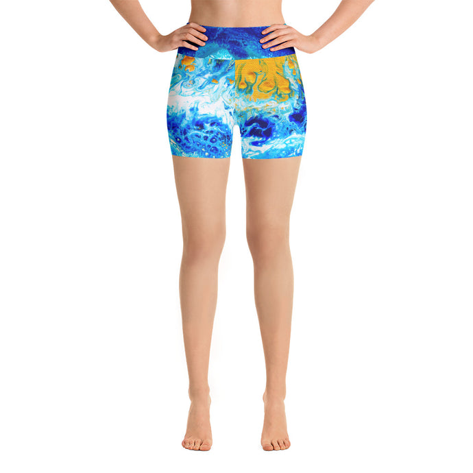 Blue Gold Ocean Abstract Yoga Shorts