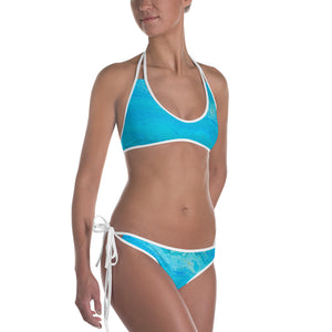 Blue Gold Ocean Abstract Bikini