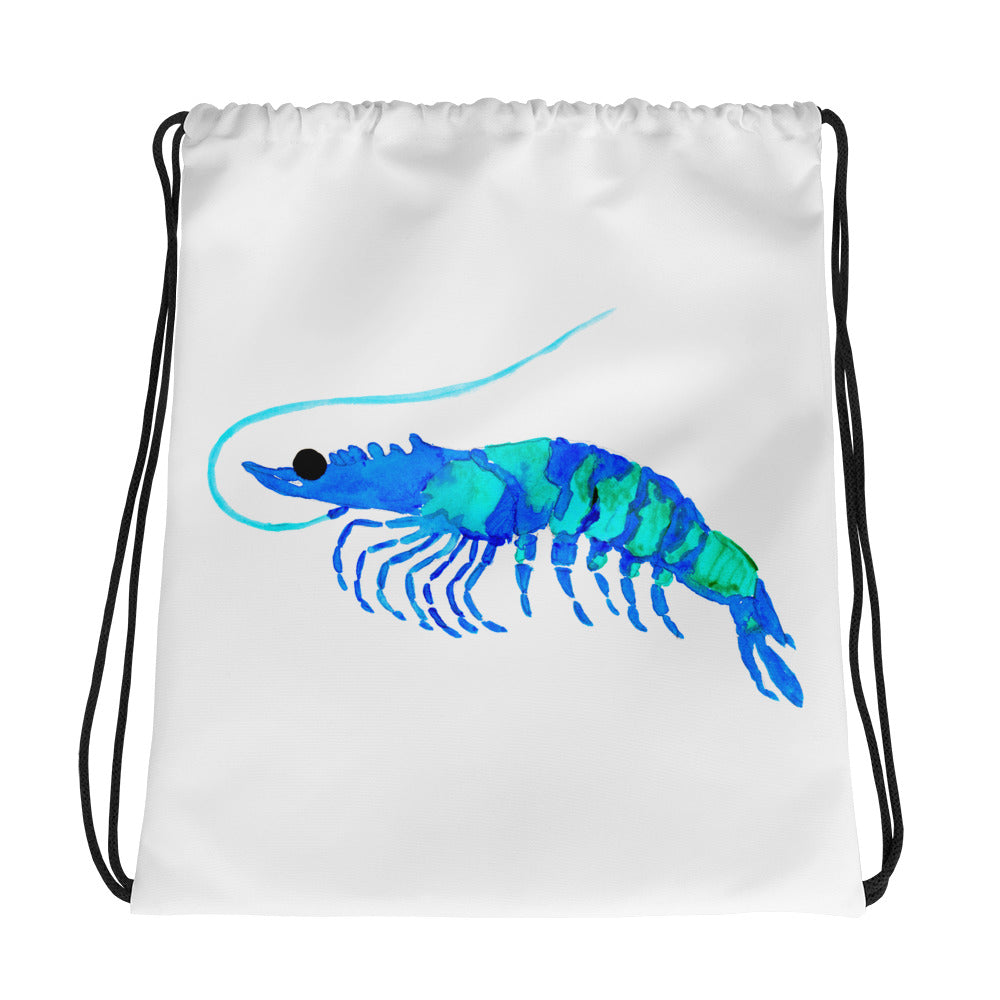 Blue Prawn Drawstring Bag