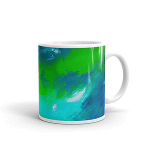 Blue green abstract printed on mug 11 ounce