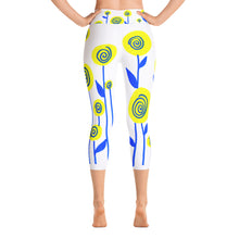 Yellow and Blue Flowers Yoga Capri Leggings
