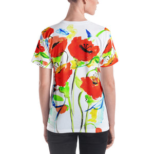 Poppies On Blue • Women's All Over Print T-Shirt
