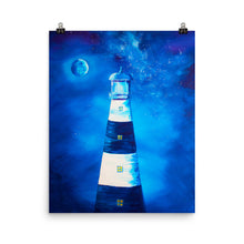 Load image into Gallery viewer, Moonlight Lighthouse Art Print
