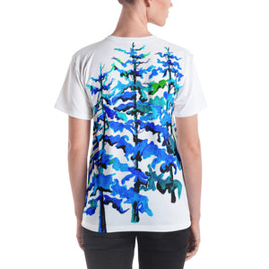 Blue Pine Trees • Women's All Over Print T-Shirt