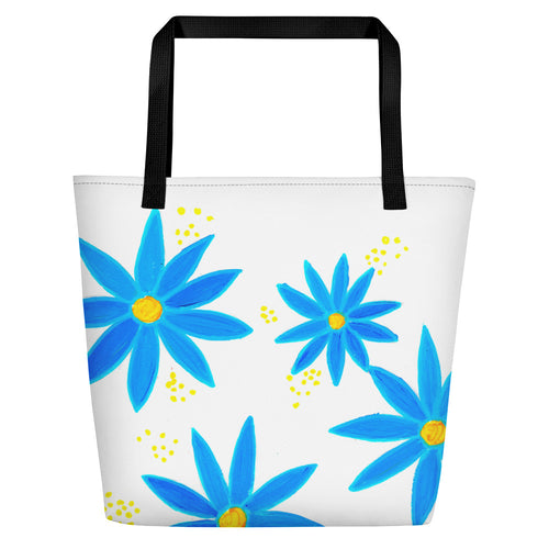 Blue Daisies Beach Bag