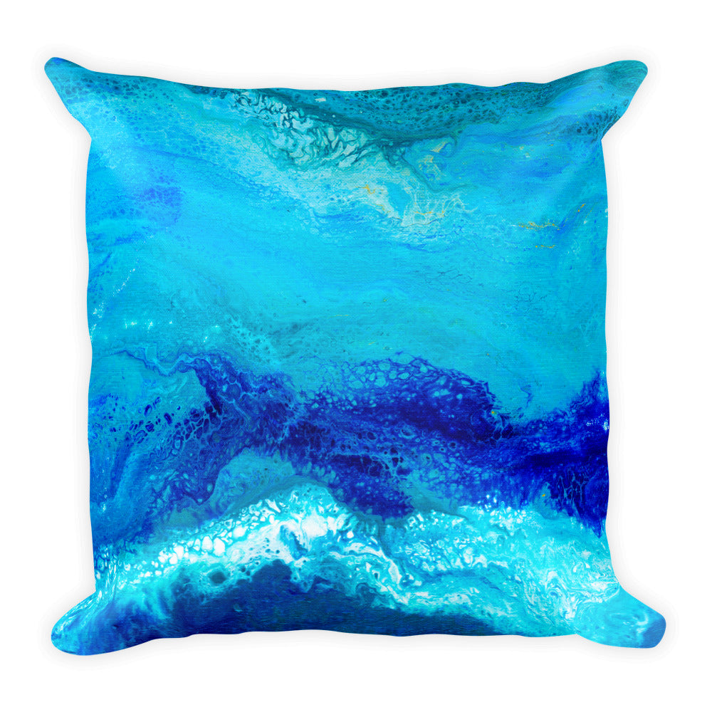 Blue Gold Ocean Abstract Square Pillow