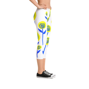 Yellow and Blue Flowers Capri Leggings