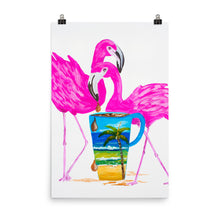 Load image into Gallery viewer, Flamingo Coffee Time Art Print